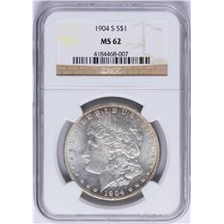 1904-S $1 Morgan Silver Dollar Coin NGC MS62