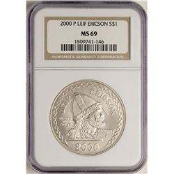 2000-P $1 Leif Ericson Commemorative Silver Coin NGC MS69