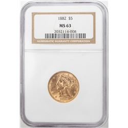 1882 $5 Liberty Head Half Eagle Gold Coin NGC MS63