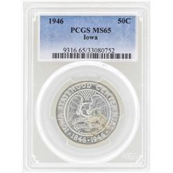 1946 Iowa Centennial Commemorative Half Dollar Coin PCGS MS65