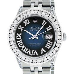 Rolex Mens Stainless Steel Blue Vignette Roman Diamond Datejust Wristwatch