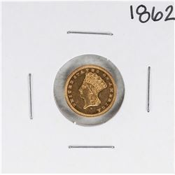 1862 Type 3 $1 Indian Head Gold Dollar Coin