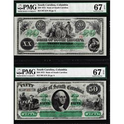 Low Serial Set 1872 $20 & $50 South Carolina Obsolete Notes PMG Superb Gem Unc. 67EPQ