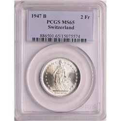 1947B Switzerland 2 Francs Silver Coin PCGS MS65