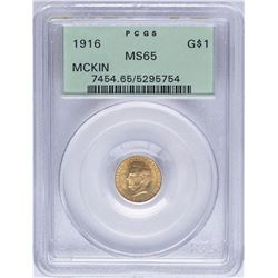 1916 $1 McKinley Commemorative Gold Dollar Coin PCGS MS65
