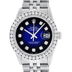 Rolex Mens Stainless Steel Blue Vignette 3 ctw Diamond Datejust Wristwatch