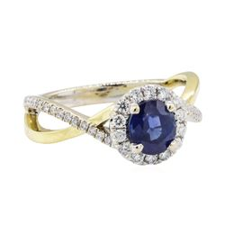 1.77 ctw Sapphire and Diamond Ring - 18KT White Gold