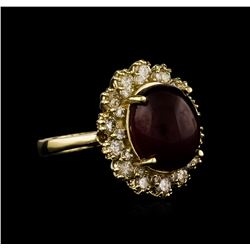 14KT Yellow Gold 7.61 ctw Ruby and Diamond Ring