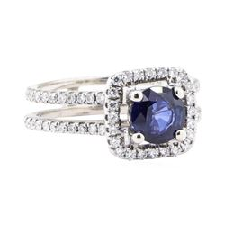 1.37 ctw Sapphire And Diamond Ring - 14KT White Gold