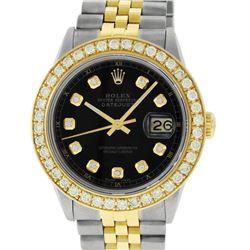 Rolex Mens 2 Tone 18K Black 1.9 ctw Diamond Datejust Wristwatch With Rolex Box