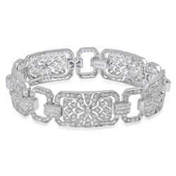 18K White Gold 3.82CTW Diamond Bracelet, (SI1/G-H)