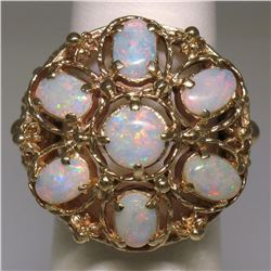 14k Yellow Gold 2.25 ctw Large Beaded Round & Oval Opal Open Work Cocktail Ring