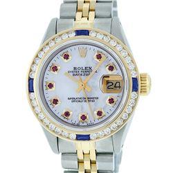 Rolex Ladies 2 Tone 14K MOP Ruby & Sapphire Channel Set Datejust Wristwatch