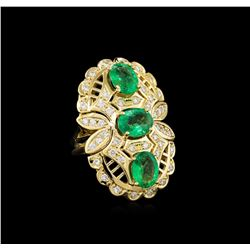 4.70 ctw Emerald and Diamond Ring - 14KT Yellow Gold