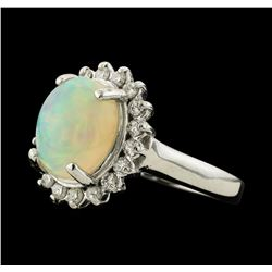 2.66 ctw Opal and Diamond Ring - 14KT White Gold