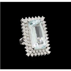 14KT White Gold 16.49 ctw Aquamarine and Diamond Ring