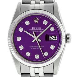 Rolex Mens Stainless Steel Purple Diamond 36MM Datejust Wristwatch