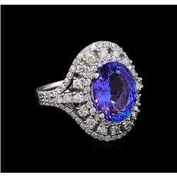 3.98 ctw Tanzanite and Diamond Ring - 14KT White Gold