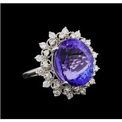GIA Cert 11.91 ctw Tanzanite and Diamond Ring - 14KT White Gold