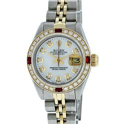 Rolex Ladies 2 Tone MOP Diamond & Ruby Datejust Wristwatch