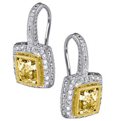 18k Two Tone Gold 2.19CTW Diamond Earrings, (VS2 /VS1 /G-H/Light Yellow /Light Y