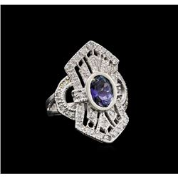 1.84 ctw Tanzanite and Diamond Ring - 14KT White Gold