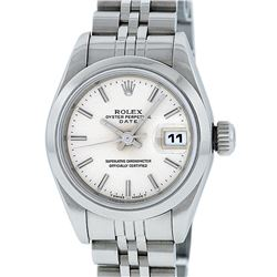Rolex Ladies Stainless Steel Silver Index 26MM Quickset Datejust Wristwatch