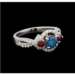 14KT White Gold 1.03 ctw Fancy Blue Diamond and Ruby Ring