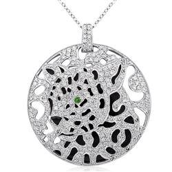 18k White Gold 2.48CTW Diamond and Emerald Pendant, (SI3-I1/H-I)