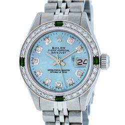 Rolex Ladies Stainless Steel Sky Blue Diamond & Emerald Datejust Wristwatch