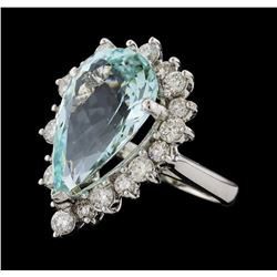 9.17 ctw Aquamarine and Diamond Ring - 14KT White Gold