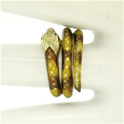 14k Yellow Gold Yellow Brown Enamel Texture Wide Wrap Snake Ring