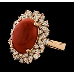6.24 ctw Coral and Diamond Ring - 14KT Rose Gold