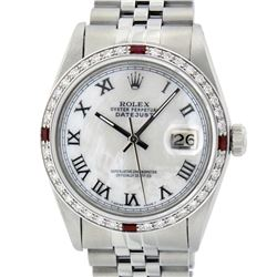 Rolex Mens Stainless Steel Silver MOP Roman 36MM Diamond & Ruby Datejust Wristwa