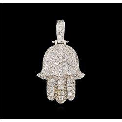 2.10 ctw Diamond Hamsa Pendant - 14KT White Gold