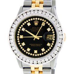Rolex Mens 2 Tone Black String VS 3CTW Channel Set Diamond Datejust Wristwatch