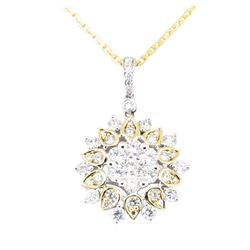 1.16 ctw Diamond Pendant & Chain - 14 and 18KT White And Yellow Gold