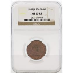 1847JA Spain 4 Maravedia Coin NGC MS63 RB