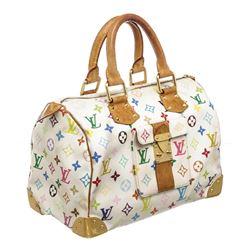 Louis Vuitton White Multicolor Monogram Speedy 30 Bag