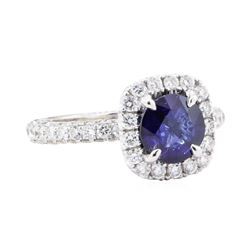 2.58 ctw Sapphire And Diamond Ring - 14KT White Gold