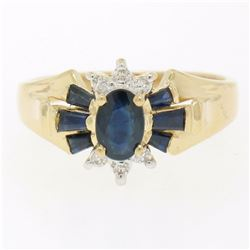14k Solid Yellow Gold 0.90 ctw Prong Set Oval & Baguette Sapphire Diamond Ring