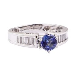 1.05 ctw Blue Sapphire and Diamond Ring - 18KT White Gold
