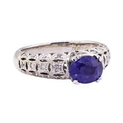 2.02 ctw Blue Sapphire And Diamond Ring - 18KT White Gold