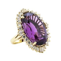 43.00 ctw Amethyst And Diamond Ring - 10KT Yellow Gold