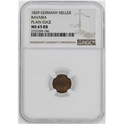 1829 Germany Bavaria Heller Coin NGC MS65RB