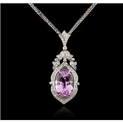 14KT White Gold 40.03 ctw Kunzite and Diamond Pendant With Chain
