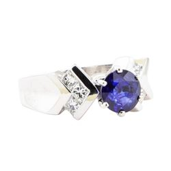 2.09 ctw Sapphire And Diamond Ring - 14KT White Gold