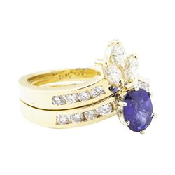 1.73 ctw Sapphire And Diamond Ring And Band - 14KT Yellow Gold