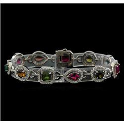 8.94 ctw Multicolor Tourmaline and Diamond Bracelet - 14KT White Gold