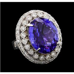 GIA Cert 19.95 ctw Tanzanite and Diamond Ring - 14KT White Gold